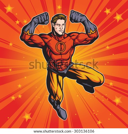 Generic superhero figure flexing.  Layered & easy to edit. See portfolio for similar images. - stock vector
