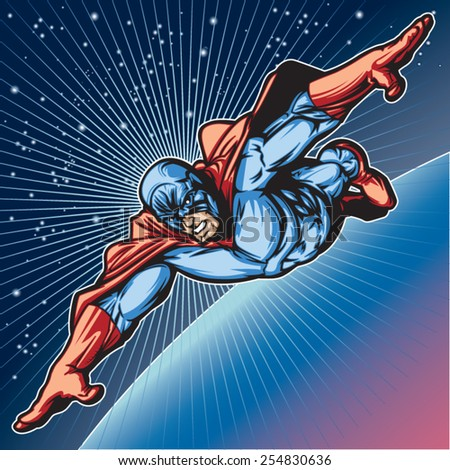 Generic superhero figure flying in space.  Layered & easy to edit. See portfolio for similar images. - stock vector