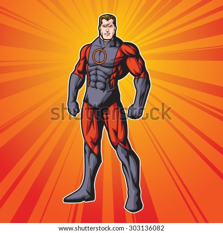 Generic superhero figure standing proud.  Layered & easy to edit. See portfolio for other images. - stock vector
