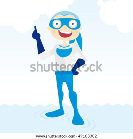 Generic superhero smiling - stock vector