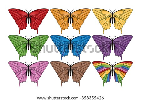 Generic Swallowtail Butterfly Vector Group - stock vector