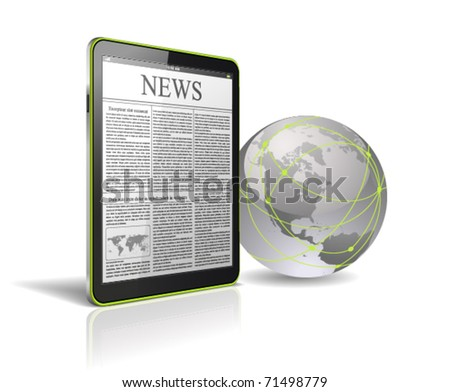 Generic tablet PC with globe. - stock vector
