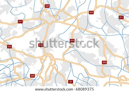 Generic vector road map with highways an local roads - stock vector