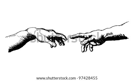 Genesis Hands - stock vector