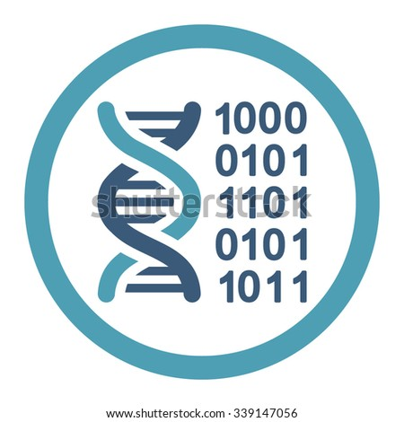 Genetic Code vector icon. Style is bicolor flat rounded symbol, cyan and blue colors, rounded angles, white background.
