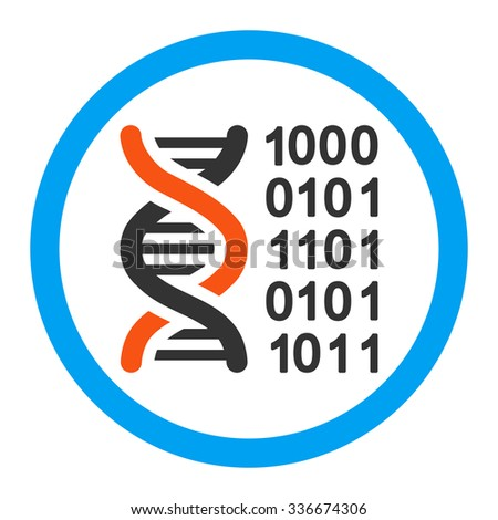 Genetic Code vector icon. Style is flat rounded symbol, bright colors, rounded angles, white background.