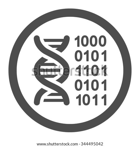Genetic Code vector icon. Style is flat rounded symbol, gray color, rounded angles, white background.