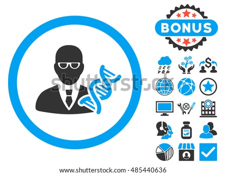 Genetic Engineer icon with bonus elements. Vector illustration style is flat iconic bicolor symbols, blue and gray colors, white background.