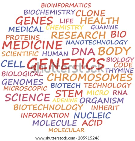 Genetics word cloud concept, vector illustration. - stock vector