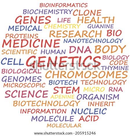 Genetics word cloud concept, vector illustration. - stock vector