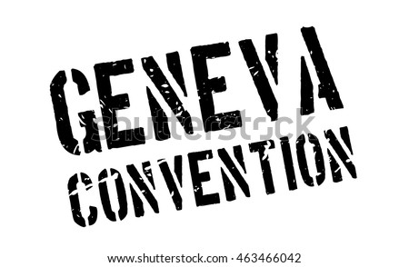 Geneva Convention rubber stamp on white. Print, impress, overprint. International humanitarian sign.