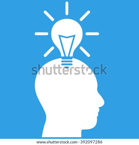 Genius Bulb vector icon. Image style is flat genius bulb pictogram symbol drawn with white color on a blue background. - stock vector