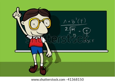 genius math student, vector illustration - stock vector