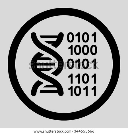Genome Code vector icon. Style is flat rounded symbol, black color, rounded angles, light gray background.
