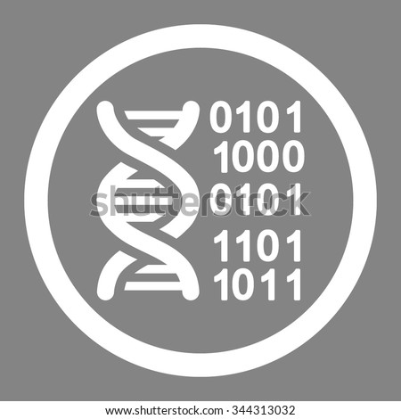 Genome Code vector icon. Style is flat rounded symbol, white color, rounded angles, gray background.