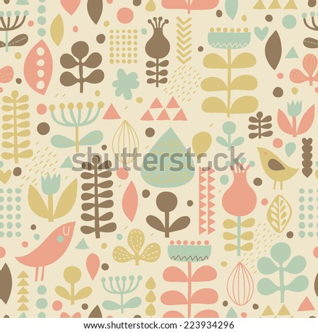 Gentle floral background with cute birds in vector. Seamless pattern can be used for wallpapers, pattern fills, web page backgrounds, surface textures. Gorgeous vector background in stylish colors - stock vector