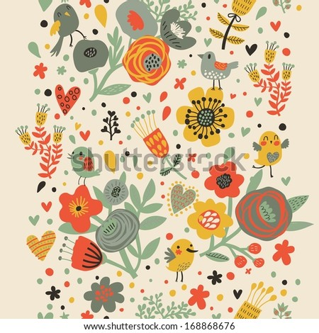 Gentle floral seamless pattern in bright colors. Cute cartoon birds in flowers. Vintage stylish background in vector - stock vector