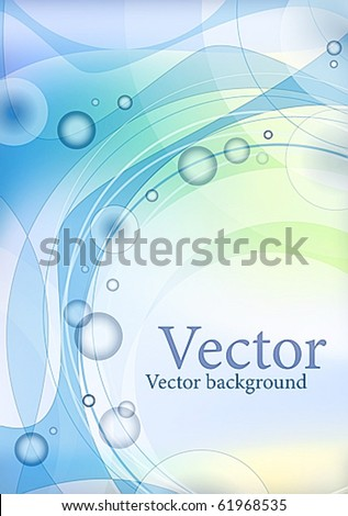 gentle light green  blue abstract sea frame for the text with white and dark blue vials of water, waves and swirls - stock vector