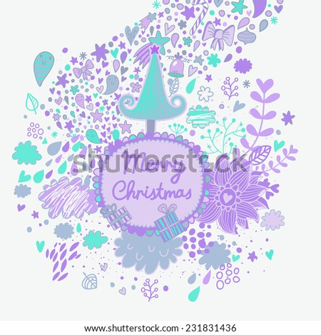 Gentle Merry Christmas card with tree, stars, clouds, gifts and flowers. Cartoon holiday background. Happy New Year invitation card design - stock vector