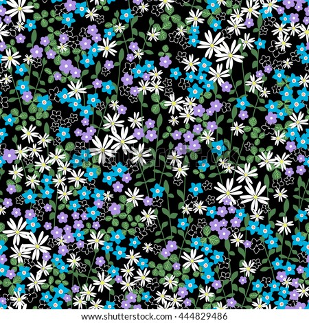 Gentle romantic seamless romantic naive flower ditsy pattern with leaves, wild flowers, spring summer time, nature in bloom, colorful floral background allover print  - stock vector