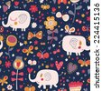 Gentle seamless pattern for children's wallpapers. Cute elephants in flowers and butterflies. Seamless pattern can be used for wallpapers, pattern fills, web page backgrounds, surface textures. - stock vector