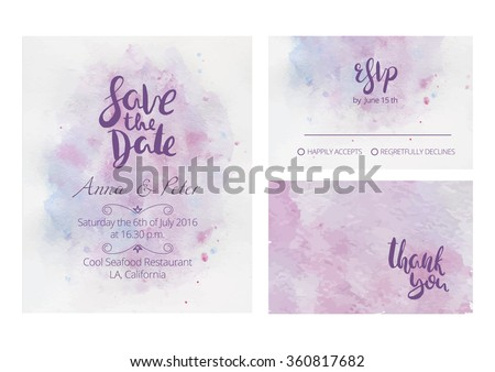Gentle wedding set with hand lettering and beautiful watercolor background. Includes save the date, rsvp and thank you cards templates. - stock vector