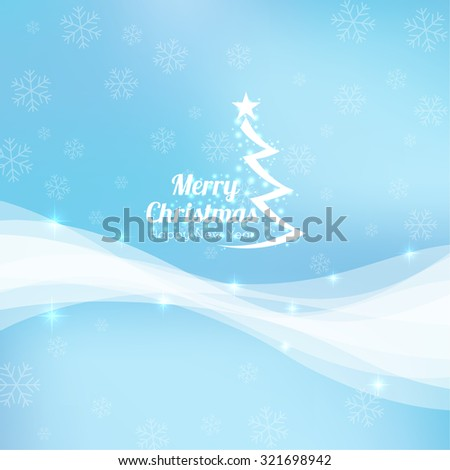 Gentle winter abstract background with falling scatter snowflakes, ice crystals and sparkles. Elegant backdrop for festive decoration with Christmas tree and typographic element. Vector design. - stock vector