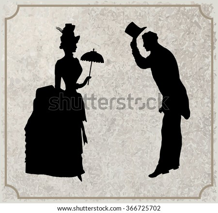 Gentleman and Lady black and white silhouette. Symbolic vintage style, vector - stock vector