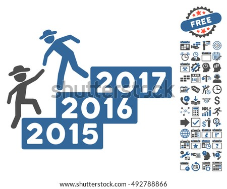 Gentleman Annual Help pictograph with bonus calendar and time management icon set. Vector illustration style is flat iconic bicolor symbols, cobalt and gray colors, white background.