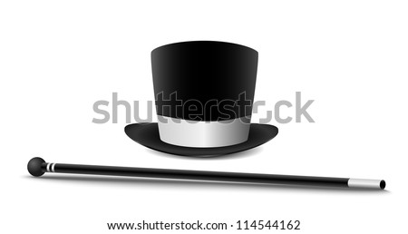 Gentleman hat and cane isolated on white. - stock vector