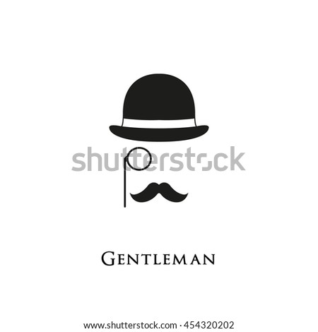 Gentleman logo. Mustache and Glasses hipster hat sunglasses. Retro style.  - stock vector