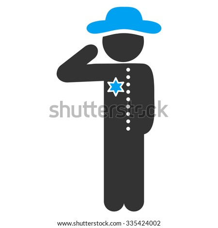 Gentleman Officer vector icon. Style is bicolor flat symbol, blue and gray colors, rounded angles, white background.