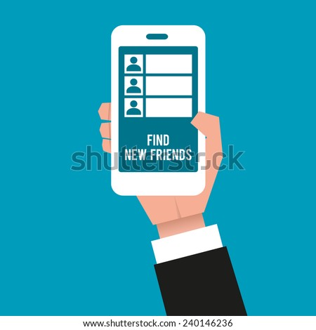 "Gentleman's hand holding a smartphone displayed with icons and a text: ""Find new friends"". Close-up, vector illustration. - stock vector"