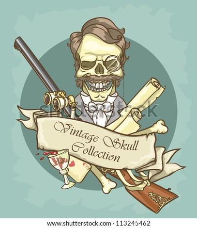 Gentleman's skull logo design - Vintage Skull Collection - stock vector