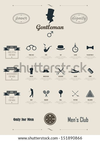 Gentleman set. Infographics. Set of simple elements and symbols. Icons for your design - stock vector