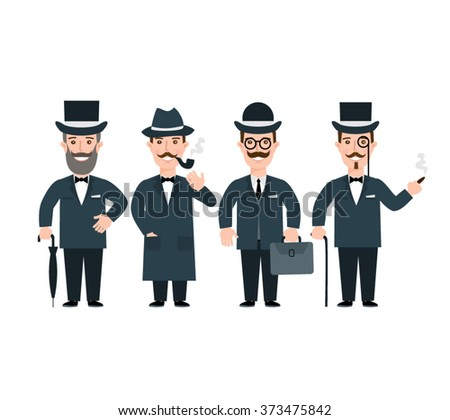 gentleman set.man in  tuxedo with briefcase hat pipe.gentlemen's fashion and accessories isolated on white background. - stock vector