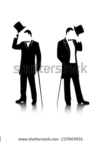 gentleman  silhouette on a white background - stock vector