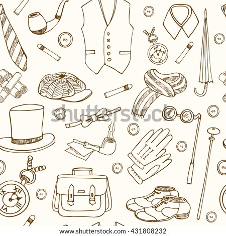 Gentleman vintage accessories doodle seamless pattern Sketches. Hand-drawing. Vector illustration of for design and packages product. - stock vector