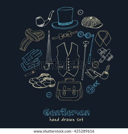 Gentleman vintage accessories doodle set. Sketches. Hand-drawing. Vector illustration of for design and packages product. - stock vector