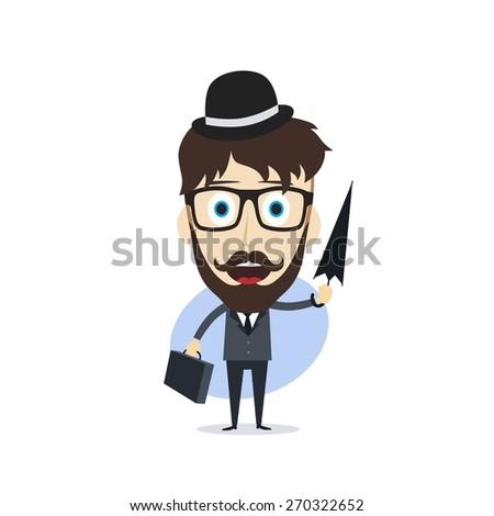 gentleman with briefcase holding umbrella - stock vector
