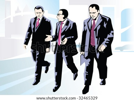 Gentlemen have met for carrying out of negotiations - stock vector