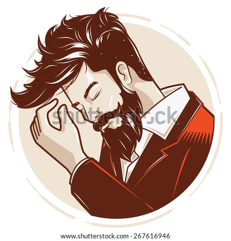 Gentlemen or hipster style/haircuts #2. - stock vector