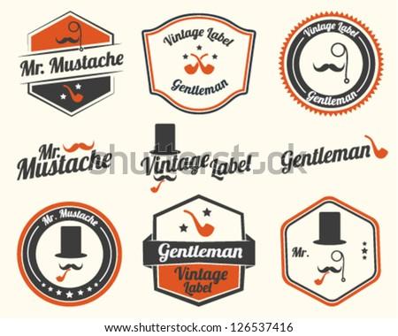 Gentlemen's Accessories Labels with retro vintage design - stock vector