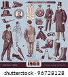 Gentlemen's Fashion and Accessories (1900) - stock vector