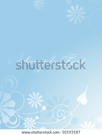 Gently blue background with an abstract vegetative pattern. Area for greetings  and inscriptions - stock vector