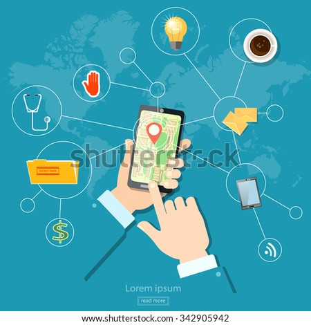 Geo location gps navigation address and location touch screen mobile - stock vector