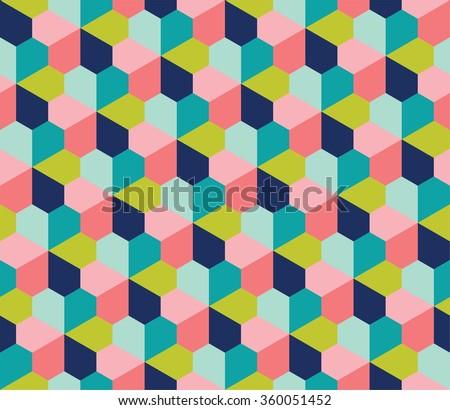 Geo pattern, archimedean tiling, seamless geometric pattern, polygonal pattern, colorful flower pattern - stock vector