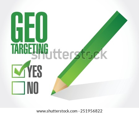 geo targeting check mark selected illustration design over a white background - stock vector