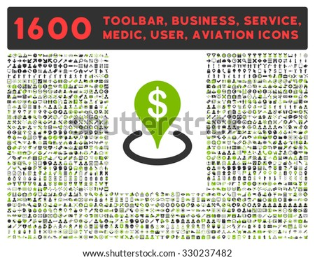 Geo Targeting vector icon and 1600 other business, service tools, medical care, software toolbar, web interface pictograms. Style is bicolor flat symbols, eco green and gray colors, rounded angles - stock vector