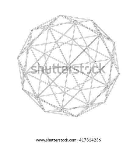 Geodesic grid. Meshes.  Sacred Geometry. The intersection of geometric lines. A clear increase in weight. Increasing. Hexahedron. Hexagonal shapes set. Crystal forms.  Hexagons vector illustration - stock vector